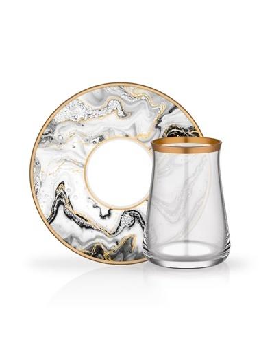Glore Marble 6 Kişilik Çay Set Renkli